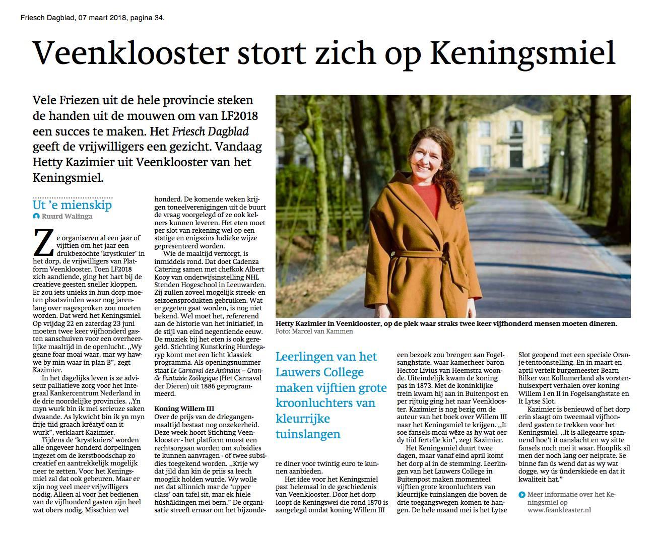 Friesch Dagblad: Veenklooster stort zich op Keningsmiel